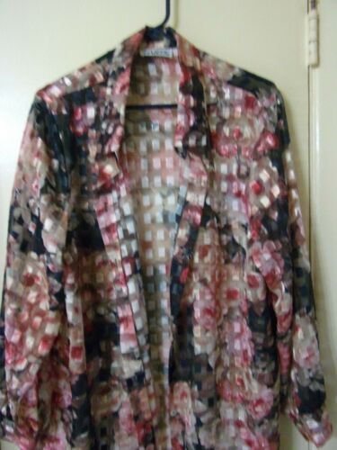 4 Print Sheer Sleeve Button And Down Black 3 Habit's Top Floral Pc 2 Plus Size qtXX7g
