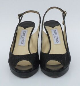 36f28ccdeb5  695 JIMMY CHOO Nova Black Glitter Fabric Leather Peep Toe Slingback ...