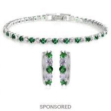 Lab Created Emerald Cubic Zirconia CZ Huggie Hoops Earrings Tennis Bracelet Set