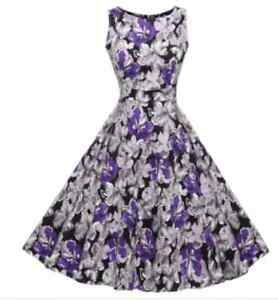 JENNY-GORGEOUS-PURPLE-BLACK-FLORAL-SIZE-8-VINTAGE-ROCKABILLY-RETRO-SWING-DRESS