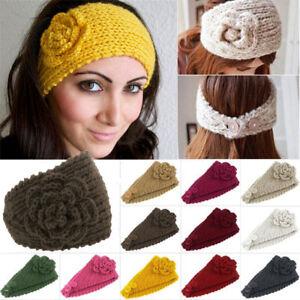 Fashion Lady s Headband Knit hair band Flower Winter Women Ear ... 8137eb0ec37