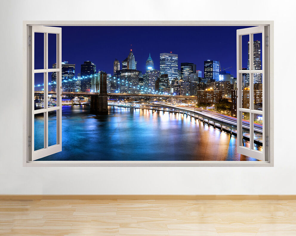 Wall Stickers New York City NYC City Landscape Night Skyline Window Decal 3D Art