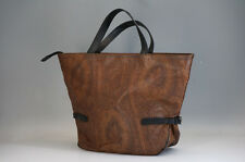 Authentic ETRO Tote Bag Paisley Brown Leather PVC Free Shipping 852f34