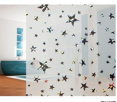 Privacy Window Film, Frosted Star Design, Self Adhesive, Window Cover, Modern Exquisite Traditional Embroidery Art