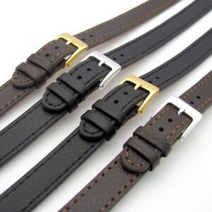 Super-long-Ladies-XXL-Leather-Watch-Strap-Band-10mm-12mm-14mm-Black-Brown-C023