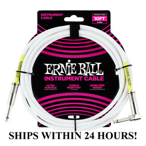 ERNIE-BALL-10-039-GUITAR-BASS-INSTRUMENT-CABLE-WHITE-STRAIGHT-TO-RIGHT-ANGLE