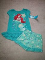 Disney Store Princess Ariel Little Mermaid 2pc Pajama Short Set Small 5/6