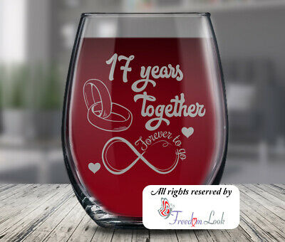 17th Wedding Anniversary Wine Glass Husband Wife Anniversary Gift 17 Years Ebay