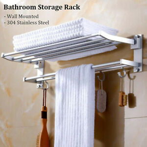 Hooks Room Wall Mounted Towel Rack Rail Holder Storage Shelf Bathroom Stainless