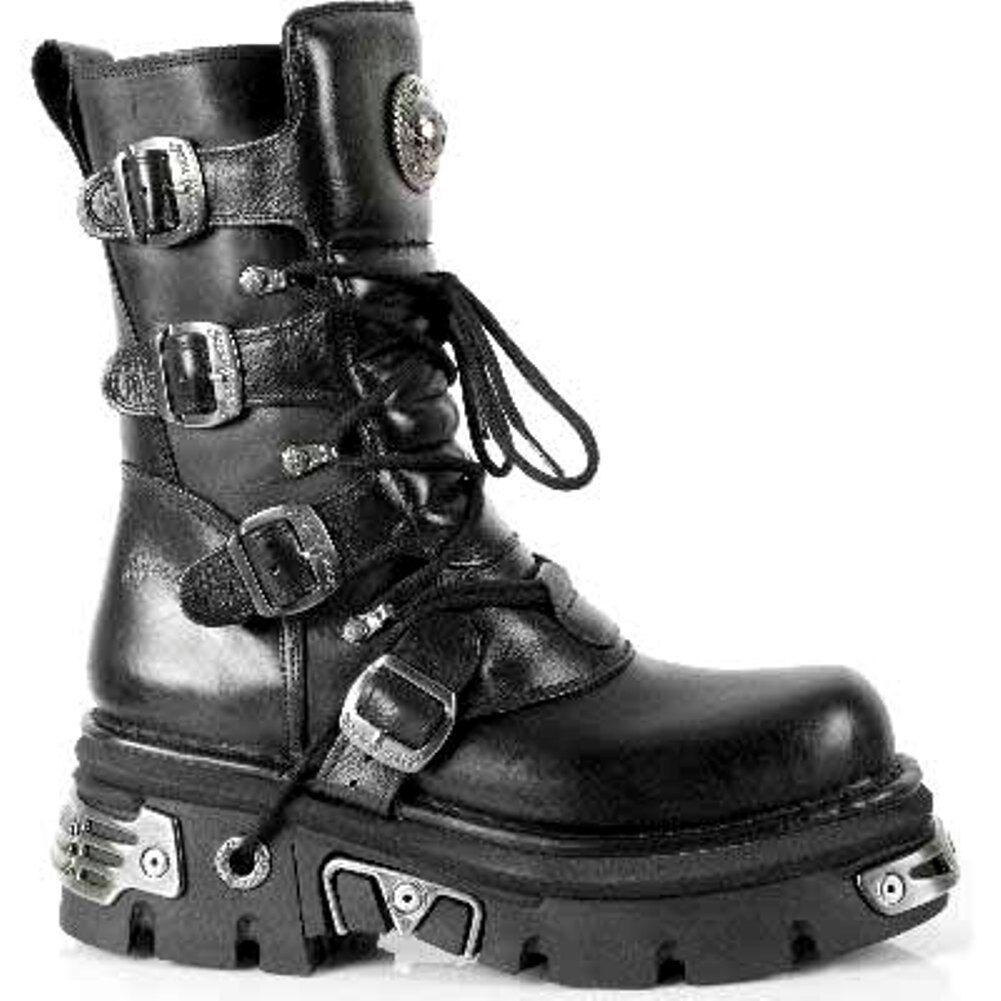 NEWROCK New Black Rock M.373-S4 Metallic Boots Black New Leather Goth Biker Emo Fashion 01a048