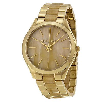 Michael Kors Slim Runway Gold-tone and Milky Horn Ladies Watch