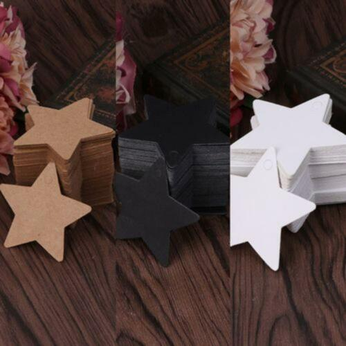 50pcs Star Shaped Kraft Paper Hang Tags Candy Box Labels Tags Craft Decor Gifts