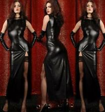 BLACK LONG EVENING DRESS & GLOVES PVC WET LOOK CATSUIT FAUX LEATHER ONE SIZE