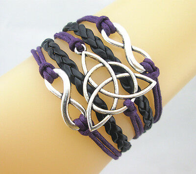 Fashion Nice Double Infinity/Triquetra Charms Leather Braided Bracelet Select