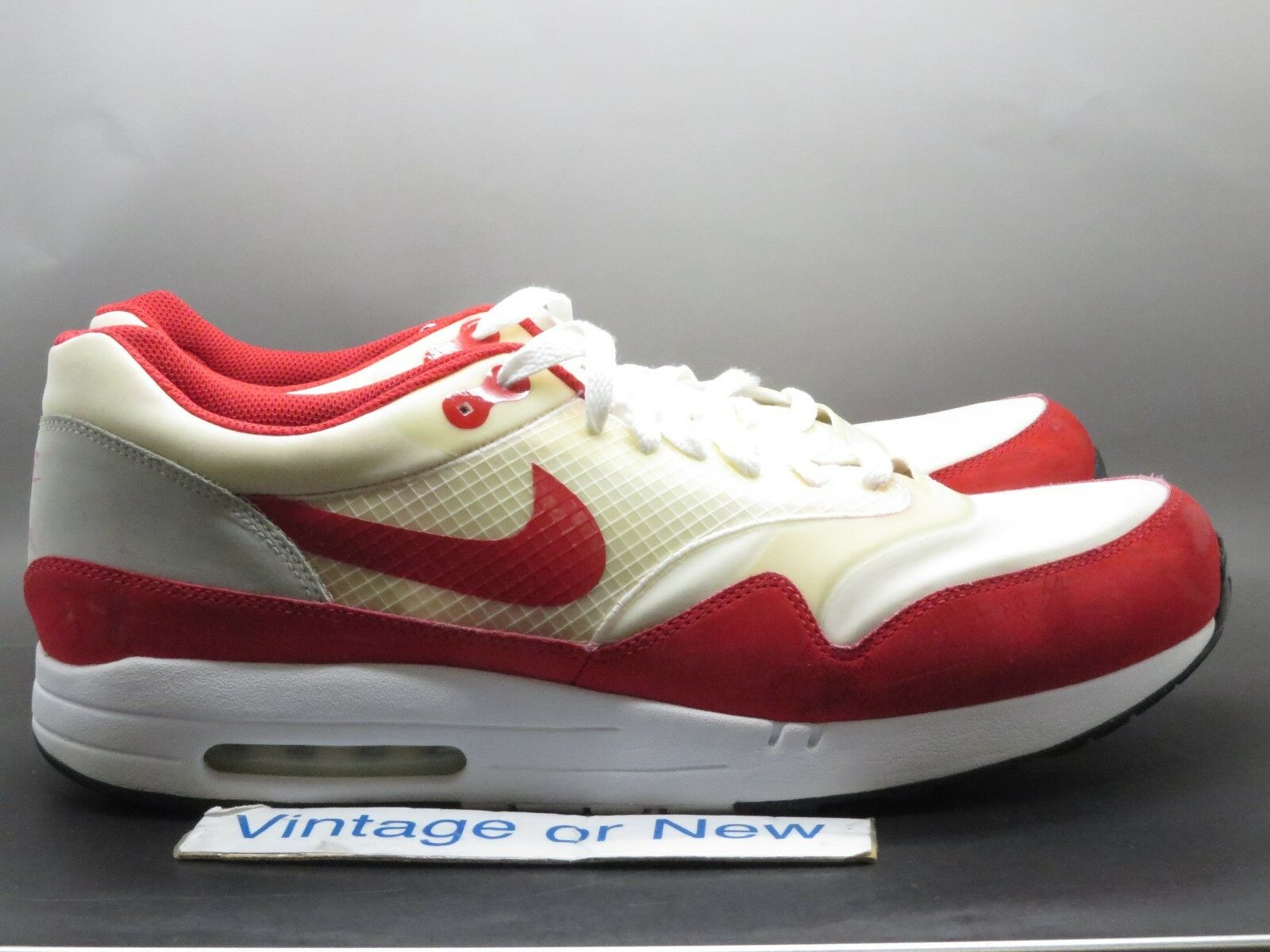 38194b7ea2d5f3 Men s Nike Air Maxim 1+ White Sport Red Grey Running shoes 366488-161 sz