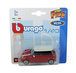 BURAGO-1-43-Diecast-Modello-Auto-Burago-039-Street-Fire-034-GAMMA-Mini-Cooper-S-in-rosso