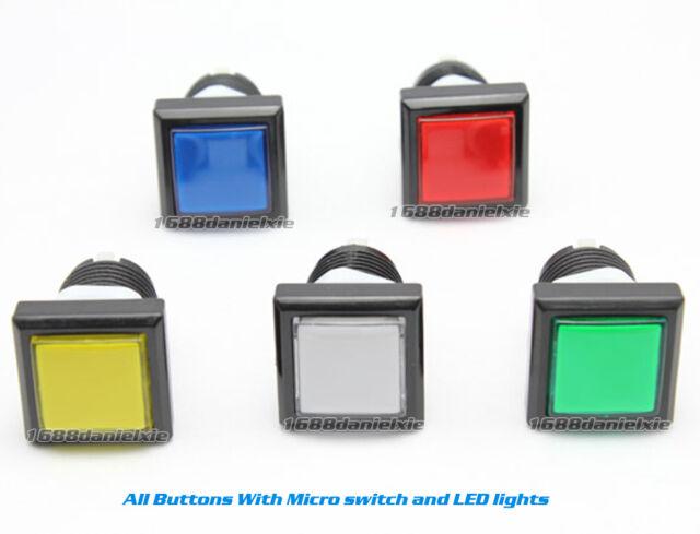 Blue and Black 33 x 33mm Square Shape LED Illuminated Push Button Large Machinery 12V Switch Pack of 5