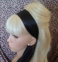 BLACK SATIN HAIR SCARF HEAD BAND SELF TIE BOW 50's 40'S GLAMOUR VINTAGE STYLE