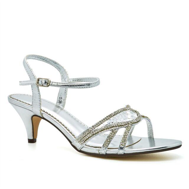 42a1864c8b6 Womens Diamante Low Kitten HEELS Strappy Sandals Ladies Bridal ...