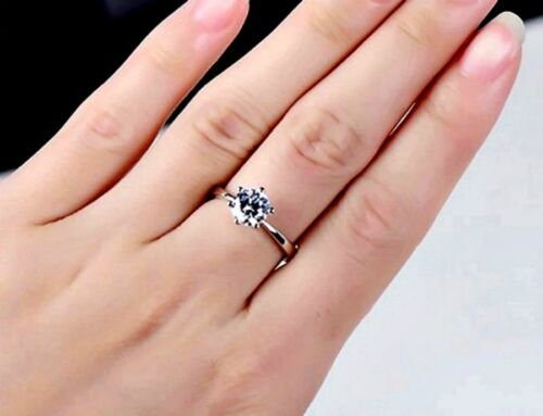 PVD BONDED 18kt WHITE GOLD 7mm Round CZ Gift Boxed Women/'s ENGAGEMENT RING