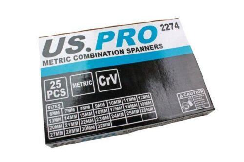 US PRO Outils 25pc Combinaison Métrique Clé Set 6-32 mm en mousse Plateau 2274