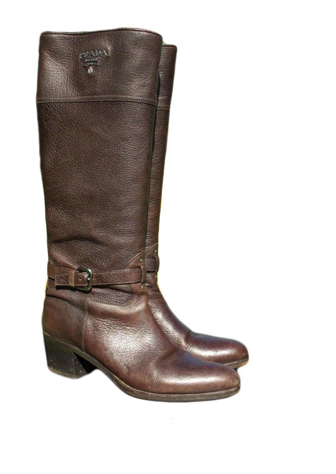 PRADA 1250 Logo Riding Boots Brown shoes Cervo Genuine Leather sz 39.5