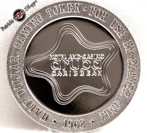 $.50 CENT PROOF TOKEN ARUBA CARIBBEAN HOTEL CASINO 1968 FM MINT COIN NETHERLANDS