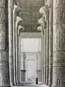 Egypt-Medinet-Habou-Habu-Interior-Temple-Thebes-Louxor-Engraving-on-Steel-XIX