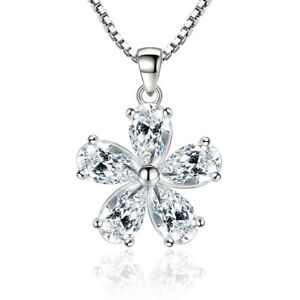 925-Sterling-Silver-Oval-Zircon-Flower-Pendant-Necklace-For-Fashion-Women-Gift