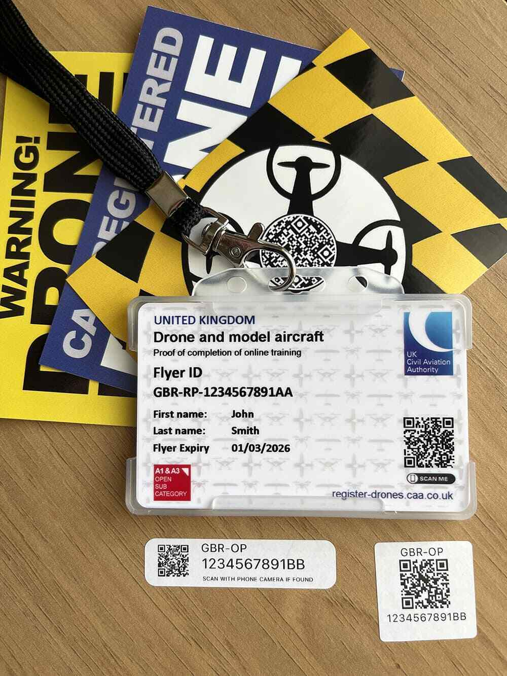 Drone ID Card + 10 x Drone Operator ID QR Stickers + Lanyard + A7 Drone Stickers
