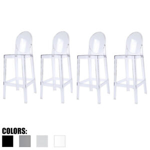 Set Of 4 Clear Smoke 30 Inch Seat Height Bar Stools Modern Accent