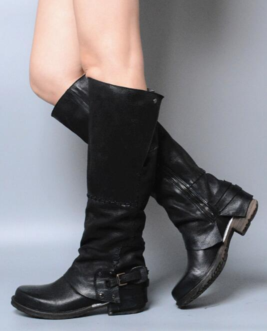 Retro femmes Buckle Cowboy Real Leather Knee High High High bottes Riding Punk Western chaussures 3e9fc4