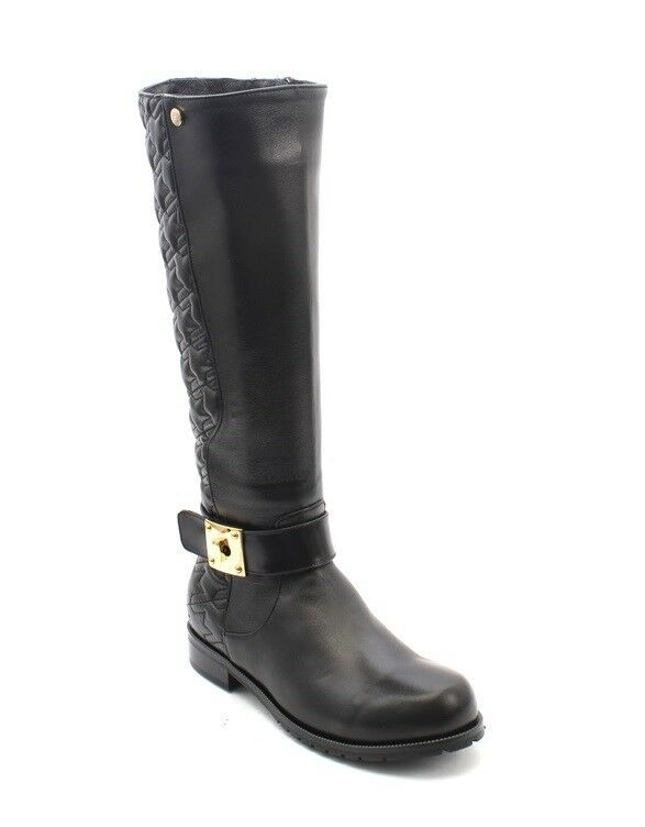 Lucrezia B. 176c Black Leather / Shearling Boots Knee High Boots Shearling 35 / US 5 2be280