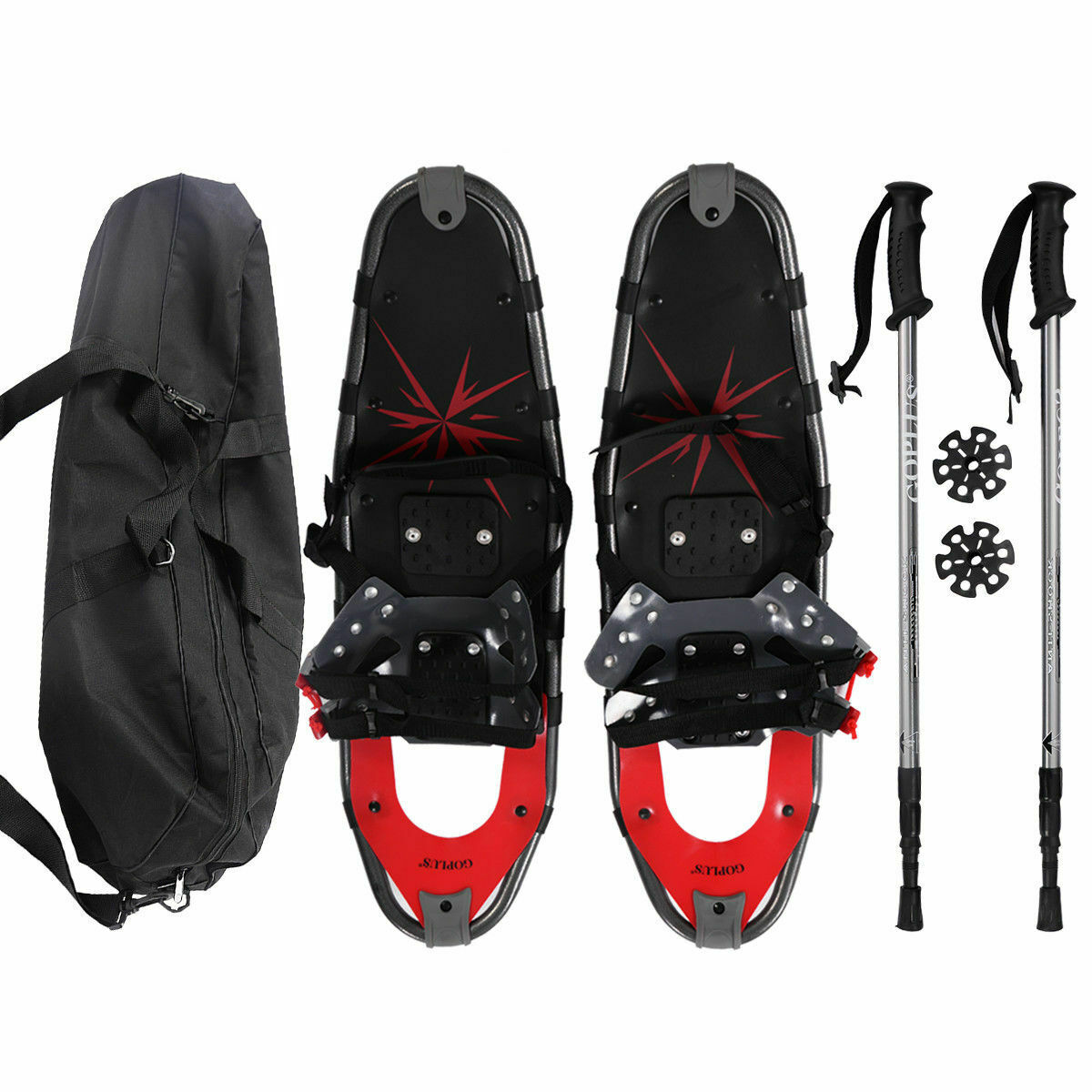 Goplus 27'' RED All Terrain Sports Snowshoes + Walking Poles + Free Carrying Bag