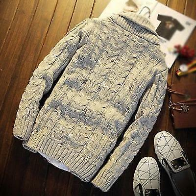 Mens Chunky Collar Cardigan Sweater Knitted Jumper Coat Jacket Warm Casual THICK