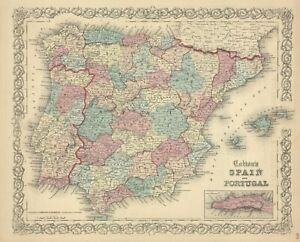 1861-Colton-map-034-Spain-amp-Portugal-034-original-steel-plate-engraving