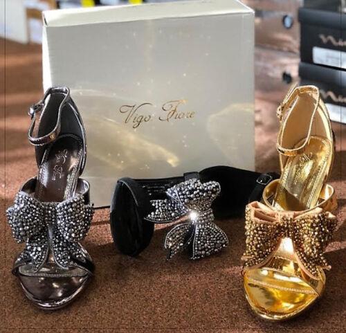 Pewter Rhinestone Bow Decor Open Toe Evening Heel Shoes US 6-10