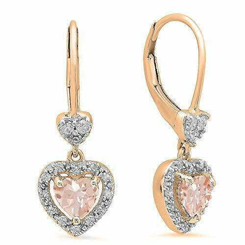 Details about  /Rose Gold on Silver Morganite  Ladies Pear Drop Stud Earrings New