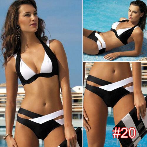 Damen Schwarz Bikini Set Hochdrück Pads Bademode Monokini Badeanzug Schwimmanzug