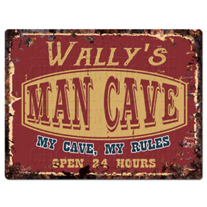 PPWM1191-WALLY-039-S-MAN-CAVE-RULES-Chic-Sign-man-cave-Decor-Funny-Gift
