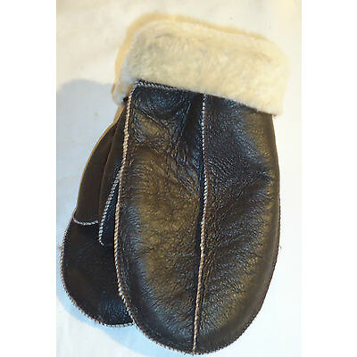 NEW! BROWN REAL SHEEPSKIN SHEARLING MITTENS MITTS NICE & WARM REAL LEATHER
