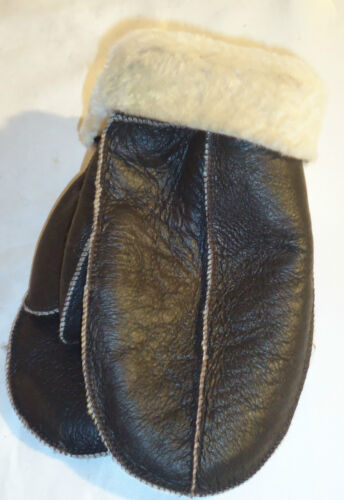 NEW BROWN REAL SHEEPSKIN SHEARLING MITTENS MITTS NICE /& WARM REAL LEATHER