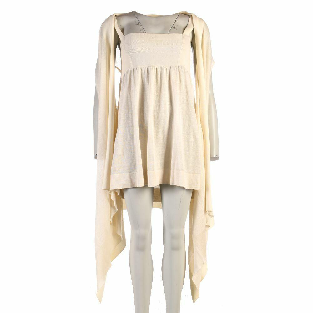 Dkny Kleid Strickjacke Creme Baumwolle Leinen Größe S RC 295