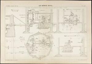 Karte-Antik-Fabrik-Elevatoire-der-Stadt-Bourg-Ain-1913-Genie-Civil
