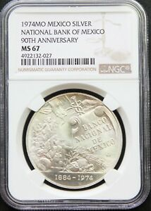 Mexico-Mint-1-oz-Silver-1974-90th-Anniversary-Banco-de-Mexico-NGC-MS67