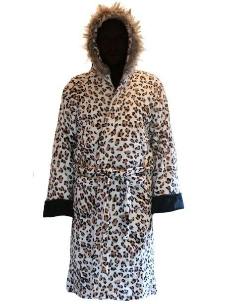 Leopard Print Parka Fleece Hooded Bathrobe Dressing Gown Robe  f095555ef