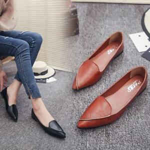 Retro-Women-Gladiator-Loafers-Slip-On-Autumn-Flat-Leather-Shoes-Pointed-Toe-US