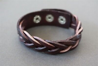 NEW Leather Braided Snap Button Bracelet Wristband Vintage Cuff