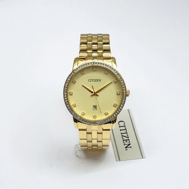 Homme Citizen BI5032-56P Gold Tone Crystal Accent Quartz Jour Montre