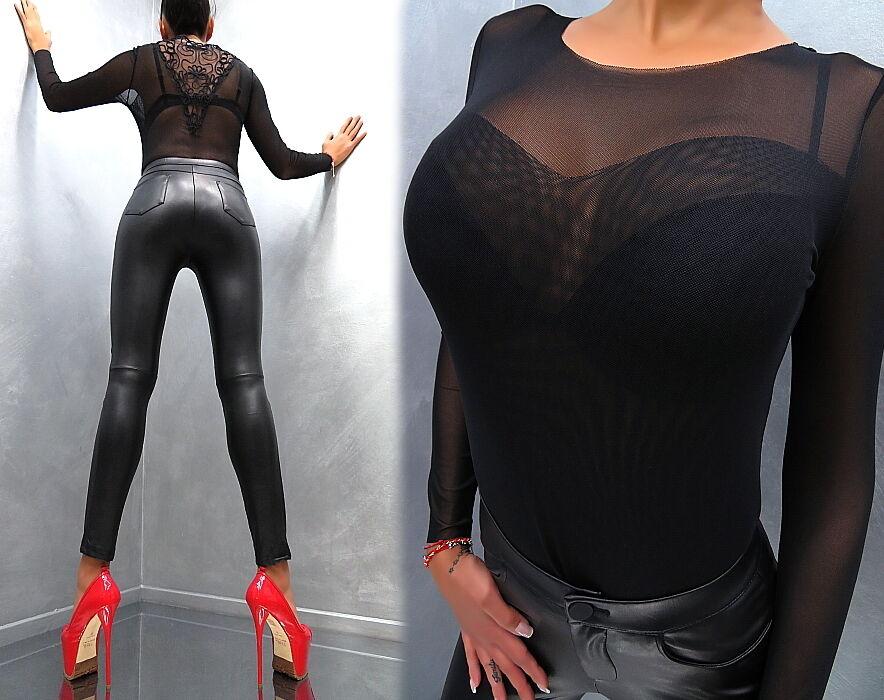 Unique Transparent NeU 2019 Damen Sexy Fit Shirt Hemd M97 Blouse Blause schwarz S